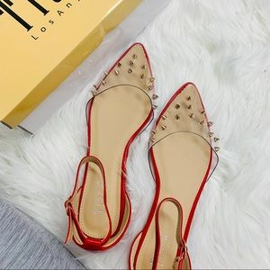 Red clear studded pointed sandal